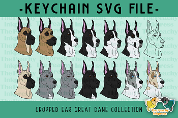 Cropped Ear Great Dane Collection SVG